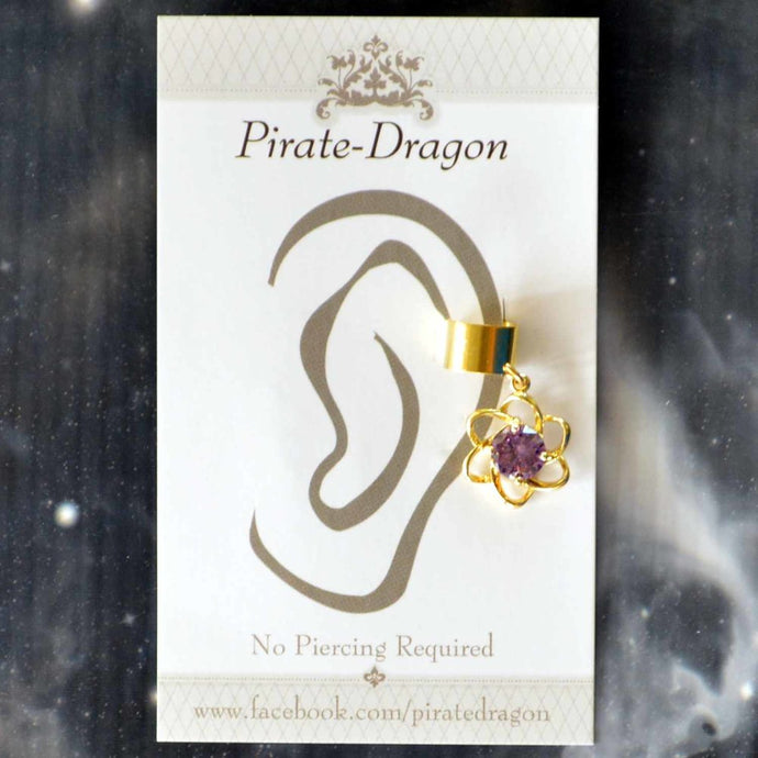 Purple Gem Flower Non-Pierced Ear Cuff (EC9115)