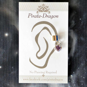 Purple Gem Silver Flower Non-Pierced Ear Cuff (EC9116)
