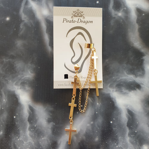 Gold Crosses & Chains Pierced Earcuff (EC91309)