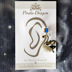 Black Gem Swan Non-Pierced Ear Cuff (EC9148)