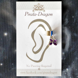 Purple Gem Butterfly Non-Pierced Ear Cuff (EC9158)