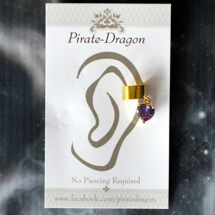 Purple Gem Heart Non-Pierced Ear Cuff (EC9159)