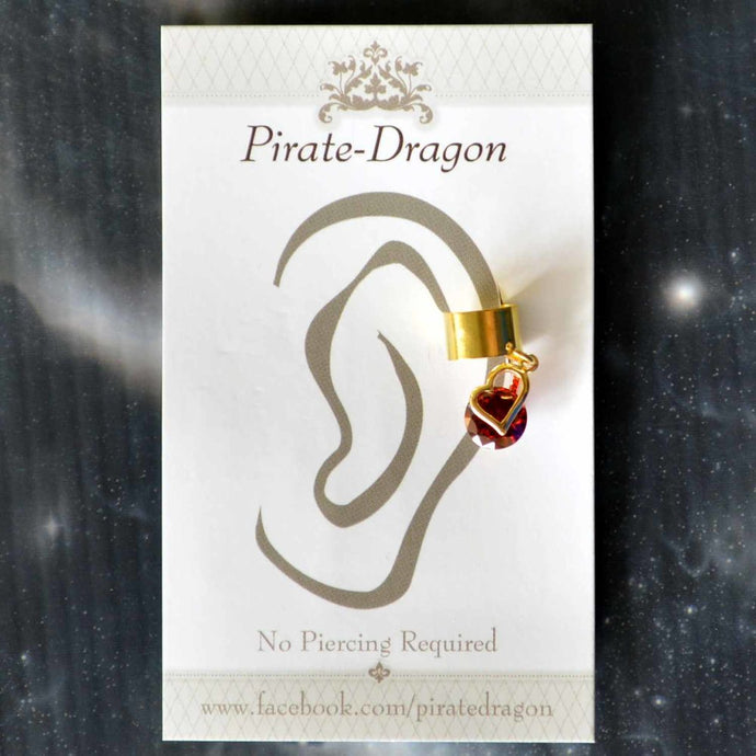 Gold Heart with Red Gem Non-Pierced Ear Cuff (EC9163)
