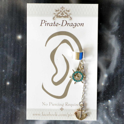 Blue Gem Ships Wheel & Silver Anchor Non-Pierced Ear Cuff (EC9177)