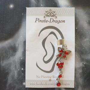 Red Gem Butterfly Non-Pierced Ear Cuff (EC9188)
