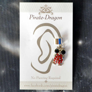 Red Gem Owl Non-Pierced Ear Cuff (EC9205)