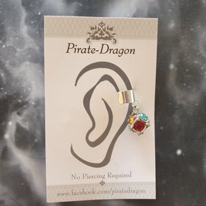 Multi-colour Gem Cube Non-Pierced Ear Cuff (EC9241)