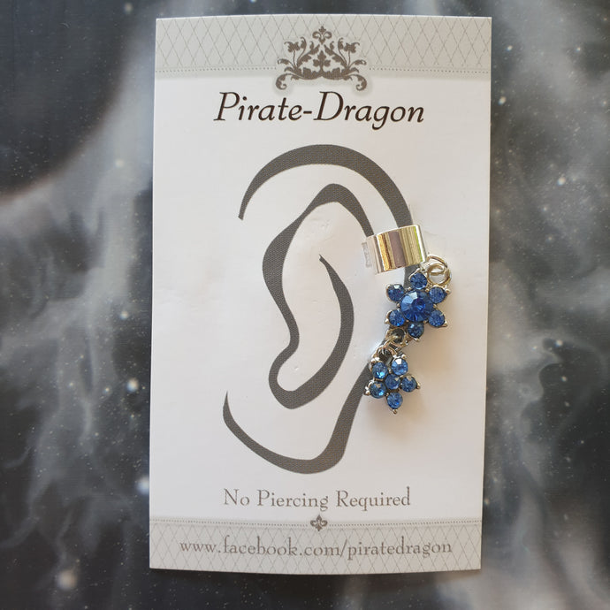 Blue Flowers Drop Non-Pierced Ear Cuff (EC9251)