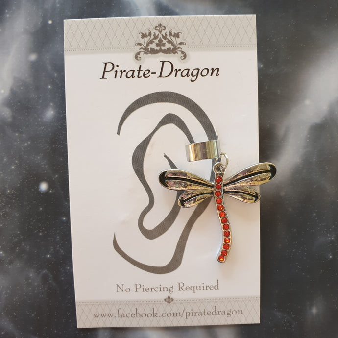 Red Gem Dragonfly Non-Pierced Ear Cuff (EC9258)