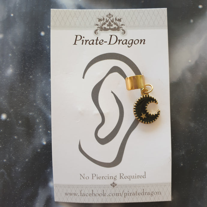 Black Crescent Moon Non-Pierced Ear Cuff (EC9421)