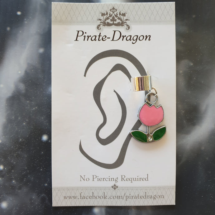 Light Pink Tulip Non-Pierced Ear Cuff (EC9422)