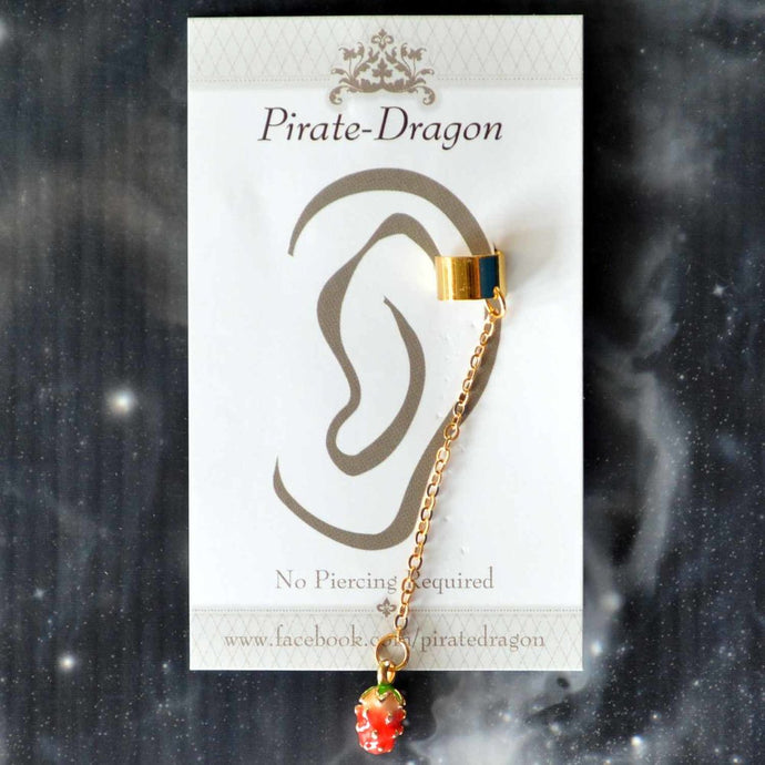 Strawberry on Chain Non-Pierced Ear Cuff (EC9459)