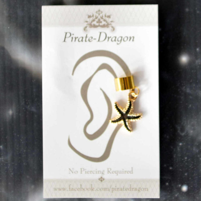 Black Starfish Non-Pierced Ear Cuff (EC9468)