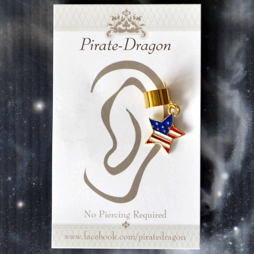 American Flag Star Non-Pierced Ear Cuff (EC9480)