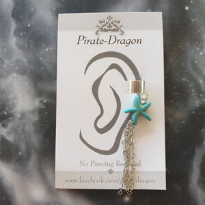 Blue Star with Silver Chains Non-Pierced Ear Cuff (EC9610)