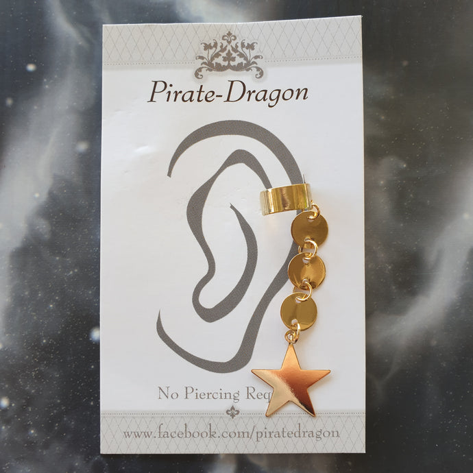 Gold Star Dangle Non-Pierced Ear Cuff (EC9611)