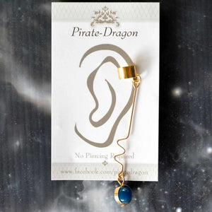 Blue Gem Drop Non-Pierced Ear Cuff (EC9621B)