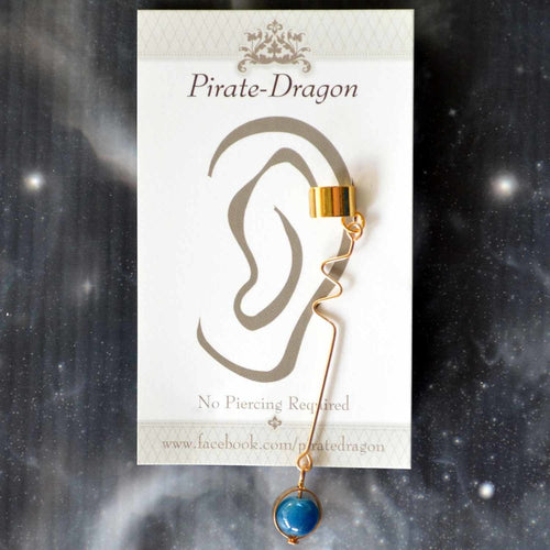 Blue Gem Drop Non-Pierced Ear Cuff (EC9621A)