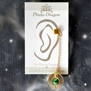 Green Bead on Gold Chain Non-Pierced Ear Cuff (EC9624)