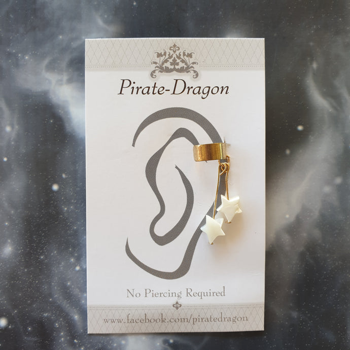 White Star Dangles Non-Pierced Ear Cuff (EC9625)