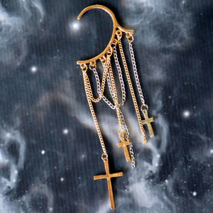 Gold & Silver Chains with Crosses Non-Pierced Ear Cuff  (ECL010)