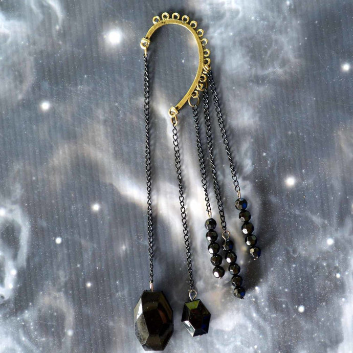 Black Beads & Chains Non-Pierced Ear Cuff (ECL006)