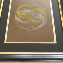 Load image into Gallery viewer, Auryn (The Neverending Story) Inspired Hand-Stitched Artwork (Brown Card)