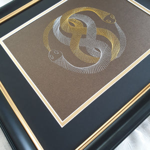 Auryn (The Neverending Story) Inspired Hand-Stitched Artwork (Brown Card)