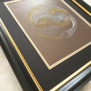 Auryn (The Neverending Story) Inspired Hand-Stitched Artwork (Brown Card) with Outline