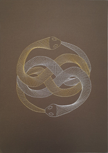 Load image into Gallery viewer, Auryn (The Neverending Story) Inspired Hand-Stitched Artwork (Brown Card) with Outline