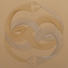 Load image into Gallery viewer, Auryn (The Neverending Story) Inspired Hand-Stitched Artwork (Cream Card)
