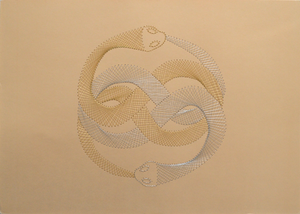 Auryn (The Neverending Story) Inspired Hand-Stitched Artwork (Cream Card)