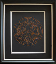 Load image into Gallery viewer, Battlestar Galactica BSG75 Inspired Hand-Stitched Artwork (Copper Thread)