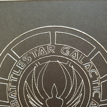 Load image into Gallery viewer, Battlestar Galactica BSG75 Inspired Hand-Stitched Artwork (Silver Thread)