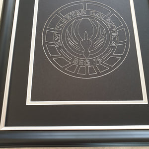 Battlestar Galactica BSG75 Inspired Hand-Stitched Artwork (Silver Thread)