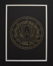 Load image into Gallery viewer, Battlestar Galactica BSG75 Inspired Hand-Stitched Artwork (Gold Thread)