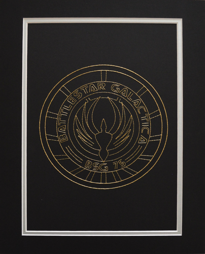 Battlestar Galactica BSG75 Inspired Hand-Stitched Artwork (Gold Thread)