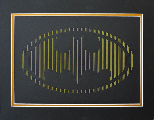 Batman Inspired Hand-Stitched Artwork (Black Card)