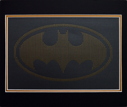 Batman Inspired Hand-Stitched Artwork (Charcoal Card)