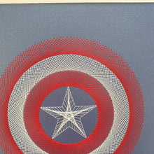 Load image into Gallery viewer, Captain America Inspired Hand-Stitched Artwork (Blue Card)