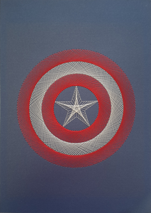 Captain America Inspired Hand-Stitched Artwork (Blue Card)