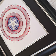 Load image into Gallery viewer, Captain America Inspired Hand-Stitched Artwork (White Card)