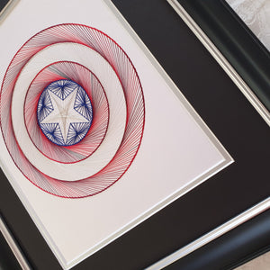 Captain America Inspired Hand-Stitched Artwork (White Card)
