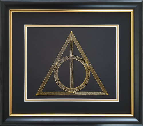 Harry Potter Deathly Hallows Inspired Hand-Stitched Artwork (Black Card)