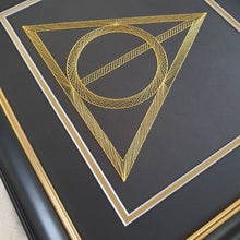 Load image into Gallery viewer, Harry Potter Deathly Hallows Inspired Card Embroidery Kit (Black Card)
