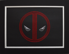 Load image into Gallery viewer, Deadpool Inspired Hand Stitched Artwork (Black Card)