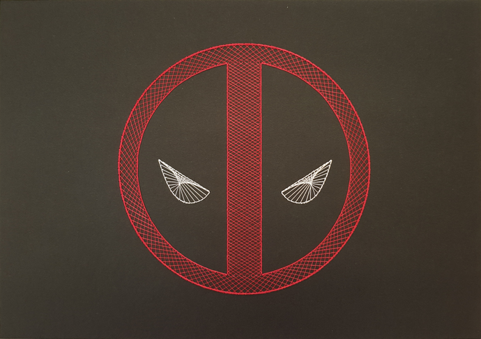 Deadpool Inspired Hand Stitched Artwork (Black Card)
