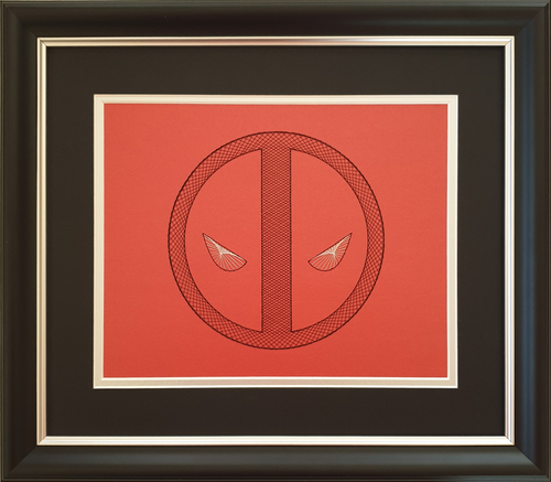 Deadpool Inspired Hand-Stitched Artwork (Red Card)