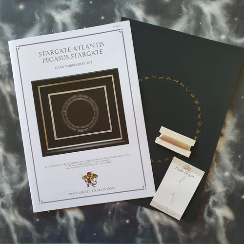 SGA Stargate Atlantis Inspired Card Embroidery Kit (Black Card)