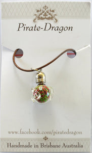 Glass Pig Pendant - Pink & Green (PG228)